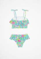 POP CANDY - 2 Piece floral print swimsuit - turquoise