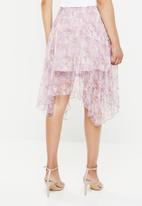 Missguided - Frill hem floral shimmer midi skirt - purple