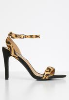 Madison® - Desiree leopard print ankle strap heel - black & brown