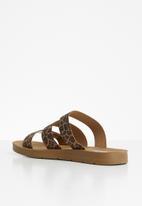Madison® - Holly elastic leopard print triple strap sandal - black & brown