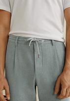 MANGO - Cotton linen jogger - grey