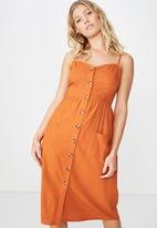 Cotton On - Woven Beth button front midi dress - orange