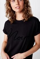 Cotton On - Classic slogan T-shirt  black - black