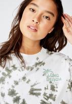 Cotton On - Tbar cali gra long beach green - white & khaki