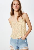 Cotton On - Astrid cropped scoop neck - beige & orange
