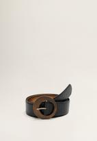MANGO - Wood buckle belt - black