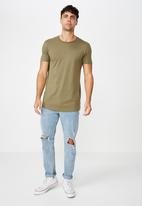 Cotton On - Essential longline curved hem tee - khaki green