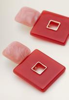 MANGO - Geometric earrings - red
