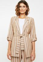 Me&B - Linen look suit jacket - brown & cream