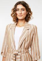 Me&B - Linen look suit jacket - brown & cream