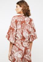 Me&B - Palm print soft shirt - rust & cream