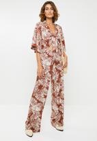 Me&B - Palm print soft pants - rust & cream
