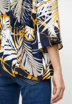 edit - Tie front kimono blouse - multi