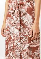 Me&B - Palm print dress - brown & white