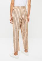 Me&B - Linen look suit pants - brown & white