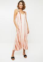 Me&B - Tie dye dress -  white & rust