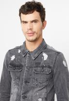 S.P.C.C. - Back print denim jacket - grey