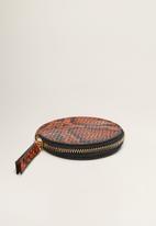 MANGO - Snake-effect purse - brown