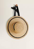 MANGO - Contrast ribbon hat - beige