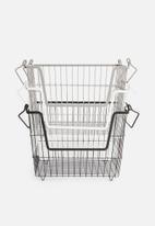 Storage Solutions - Stacking basket set of 3 - black/grey/white