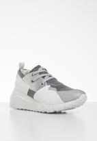 Steve Madden - Leather/textile camo print flatform sneaker - grey & white