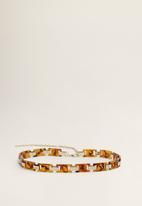MANGO - Tortoiseshell chain belt - gold & brown