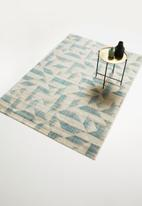 Sixth Floor - Abstract antique trend rug - duck egg blue & cream
