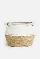 Sixth Floor - African belly basket - beige & white