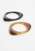 Superbalist - 2 Pack statement bangle set - black & brown