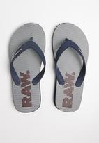G-Star RAW - Dend hickory aop flip flop - navy & white