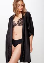 Cotton On - Satin kimono gown - black