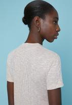 Superbalist - Soft melange rib high neck fitted tee - beige