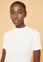 Superbalist - Soft melange rib high neck fitted tee - white