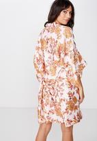 Cotton On - Satin kimono gown - pink & orange