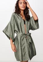 Cotton On - Satin kimono gown - green & black