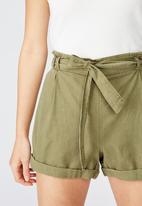Cotton On - Riley high waist short - green