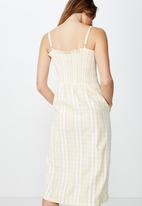 Cotton On - Woven Eliza shirred midi dress  - yellow & white