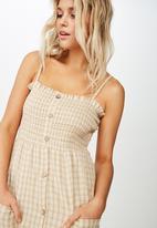 Cotton On - Woven Eliza shirred midi dress  - neutral & white