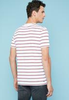 Superbalist - Nautical stripe crew neck tee - white & burgundy