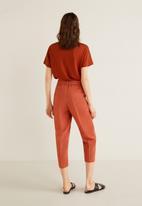 MANGO - Tie waist crop trouser - rust