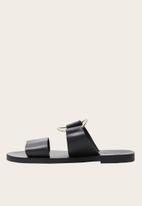 MANGO - Leather two strap back metallic ring sandal - black