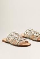 MANGO - Woven shell ornament strappy sandal - green