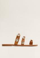 MANGO - Leather shell ornament toe-strappy sandal - brown
