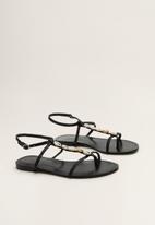 MANGO - Shell ornament t-strap sandal - black