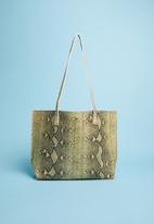 Superbalist - Animal print shopper bag - green & grey