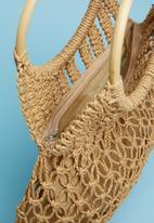 Superbalist - Wooden handle crochet bag - neutral