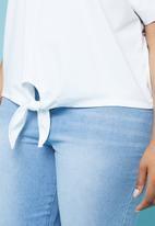 Superbalist - Tie front tee - white