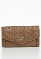 GUESS - Gleeson slim clutch - brown