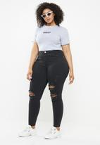 Missguided - Curve highwaisted ripped skinny - black