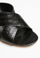 ALDO - Snakeskin leather mule - black